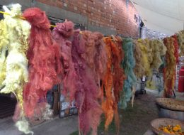 Plant Dyeing, Peg loom weaving, Brinkley loom weaving and feltmaking.